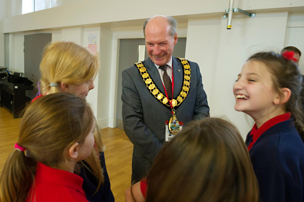 Councillor Ray Hill meeting members of the Doorstep Arts drama group