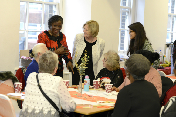 Barbara Simmonds, a Trustee at People's Health Trust, meets Feel Good Friday participants.